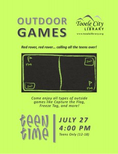Teen Time: Outdoor Games @ Tooele City Library | Tooele | Utah | United States