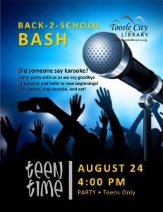Teen Time: Back to School Bash @ Tooele City Library | Tooele | Utah | United States