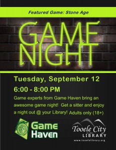 Board Game Night (Adults 18+) @ Tooele City Library | Tooele | Utah | United States