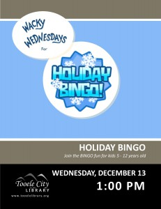 Wacky Wednesday: Holiday Bingo @ Tooele City Library | Tooele | Utah | United States