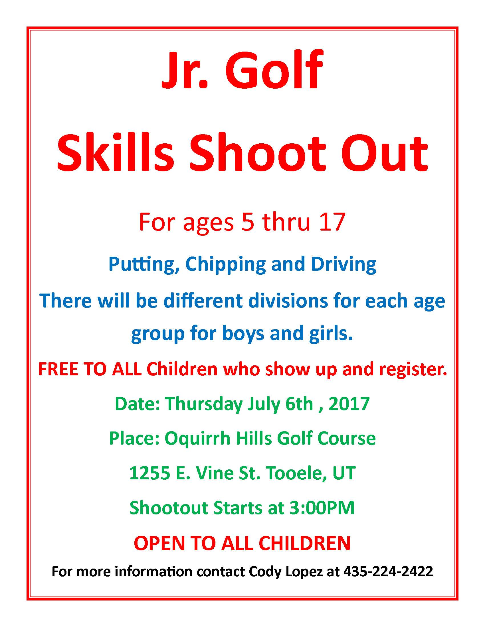 Jr. Golf Skills Shoot Out @ Oquirrh Hills Golf Course | Tooele | Utah | United States
