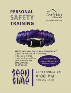 Teen Time: Protective Safety Training @ Tooele City Library | Tooele | Utah | United States
