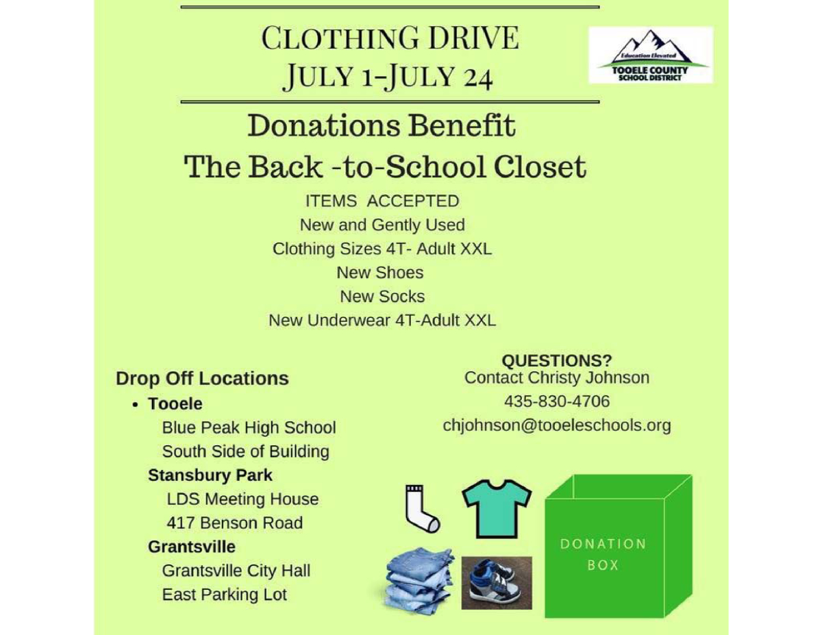 Tooele County School District Clothing Drive July 2018