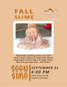 Teen Time: DIY Fall Slime @ Tooele City Library | Tooele | Utah | United States