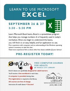 Introduction to Excel. Part 1 @ Tooele City Library | Tooele | Utah | United States