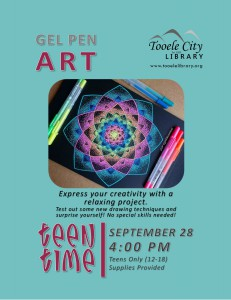 Teen Time: DIY Gel Pen Art @ Tooele City Library | Tooele | Utah | United States