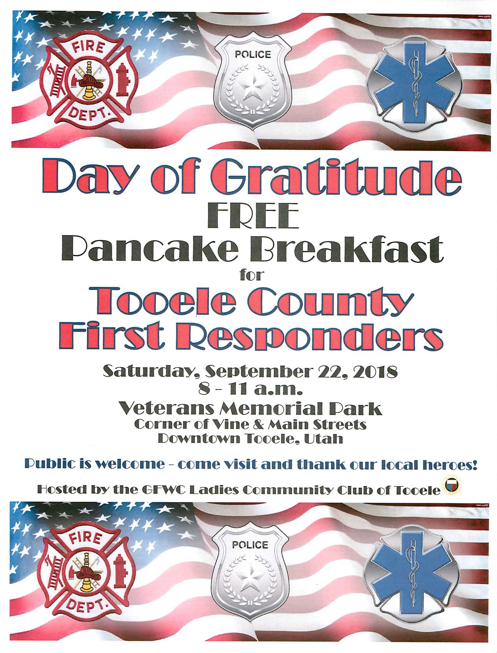Day of Gratitude for Tooele County First Responders @ Veterans Memorial Park | Tooele | Utah | United States