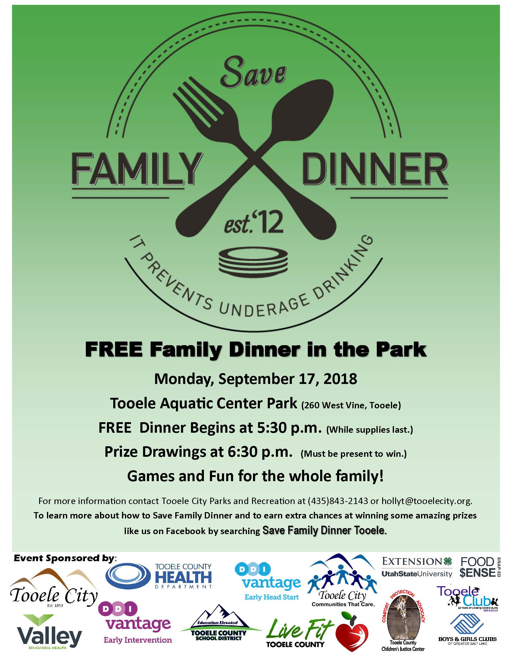 FREE Family Dinner in the Park 2018 @ Aquatic Center Park | Tooele | Utah | United States