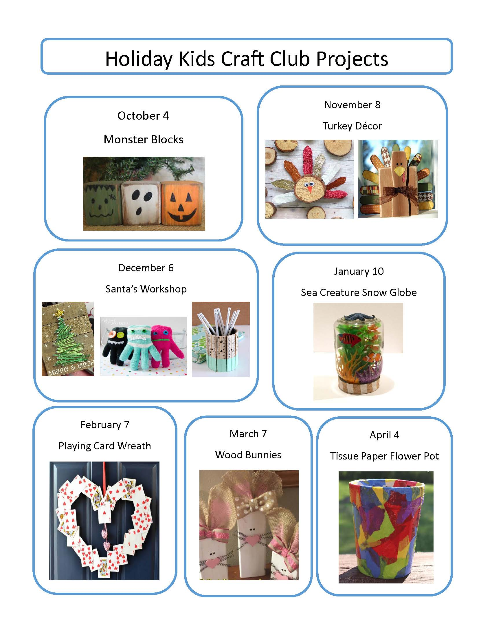 Kids Craft Club Project List 2017