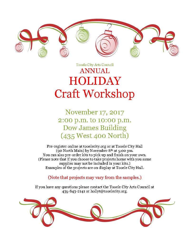 Holiday Craft Workshop 2017 @ Dow James Building | Tooele | Utah | United States