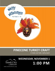 Wacky Wednesday: Pinecone Turkey Craft @ Tooele City Library | Tooele | Utah | United States