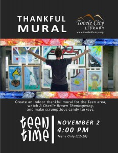 Teen Time: Thankful Mural @ Tooele City Library | Tooele | Utah | United States