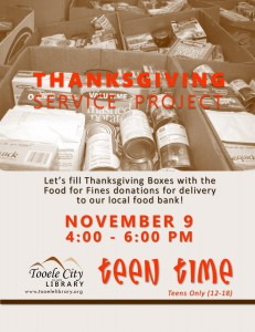 Teen Time: Thanksgiving Service Project @ Tooele City Library | Tooele | Utah | United States