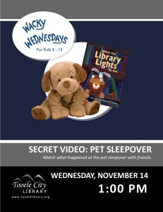 Wacky Wednesday: Pet Sleepover Video @ Tooele City Library | Tooele | Utah | United States
