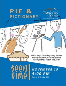 Teen Time: Pie and Pictionary @ Tooele City Library | Tooele | Utah | United States