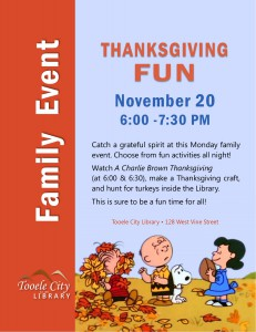 Library: Thanksgiving Fun for Families @ Tooele City Library | Tooele | Utah | United States