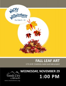 Wacky Wednesday: Fall Leaf Art @ Tooele City Library | Tooele | Utah | United States