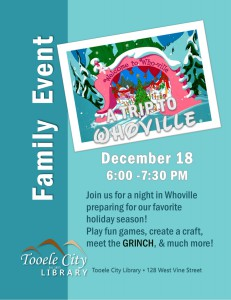 Family Event: A Trip to Whoville @ Tooele City Library | Tooele | Utah | United States