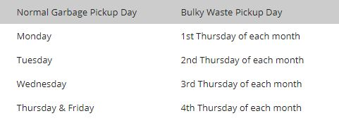 Bulk Waste Pickup Schedule