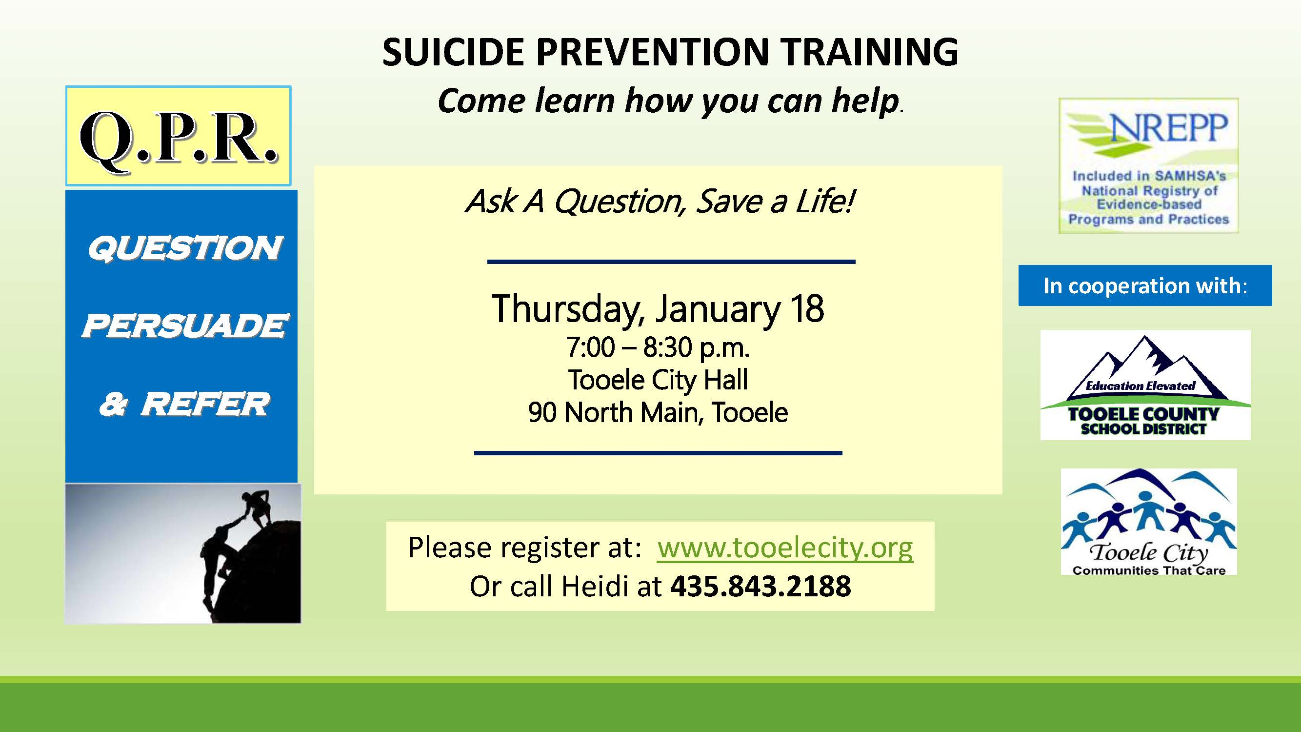 QPR Suicide Prevention Training January 2018