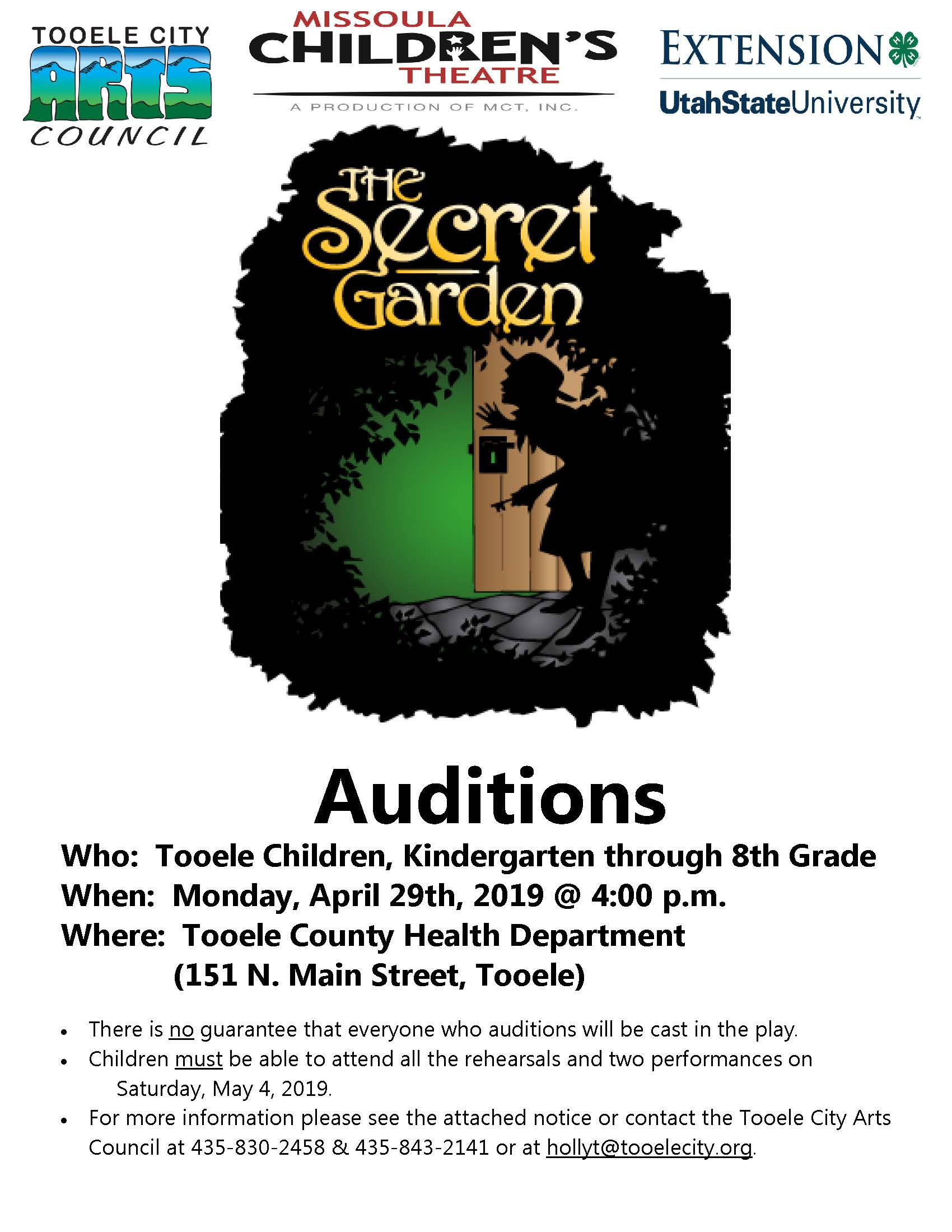 The Secret Garden 2019 Auditions (Missoula Children's Theatre) @ Tooele County Health Department | Tooele | Utah | United States