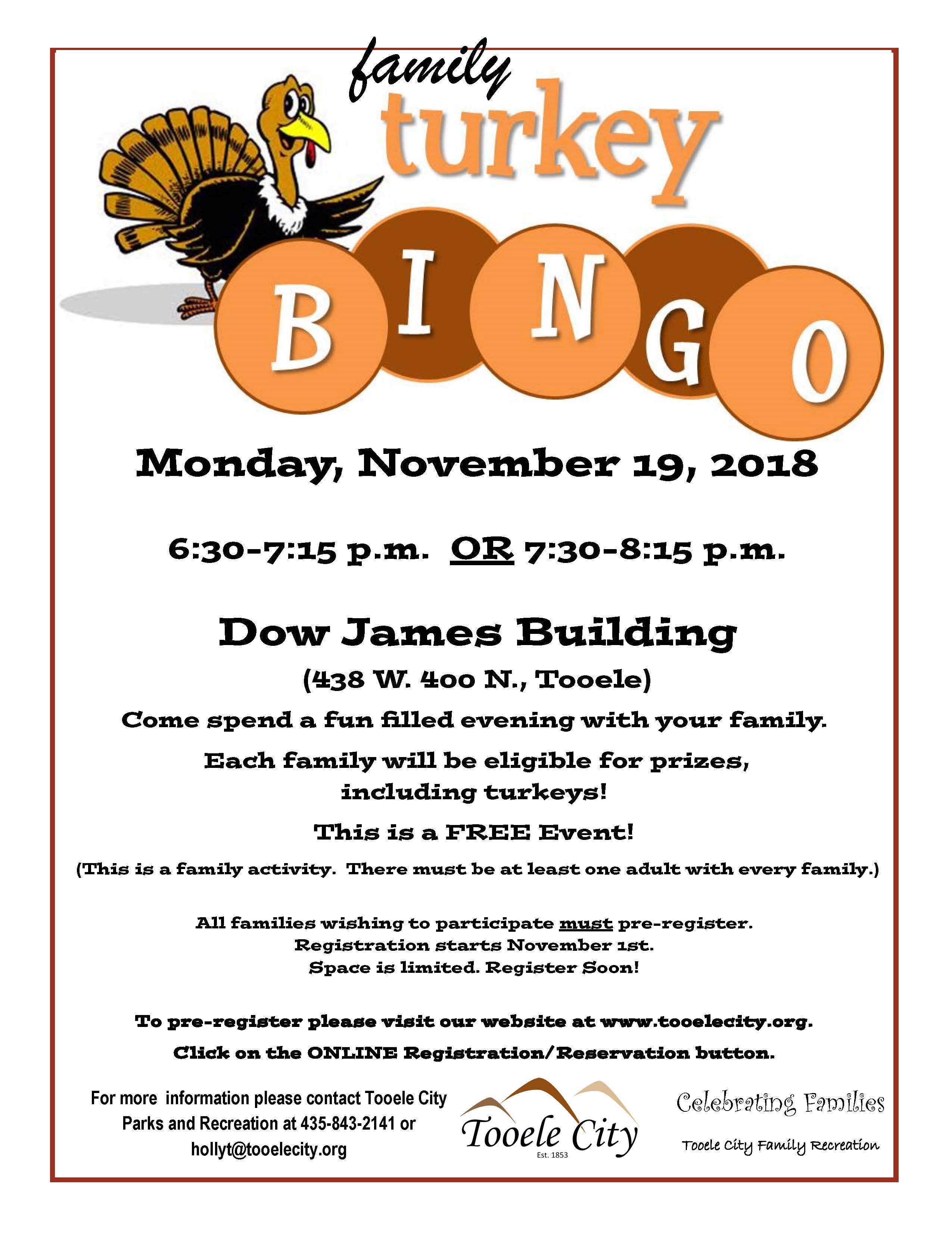 Turkey Bingo Family Activity November 2018