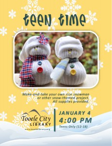 Teen Time: Snow Crafts @ Tooele City Library | Tooele | Utah | United States