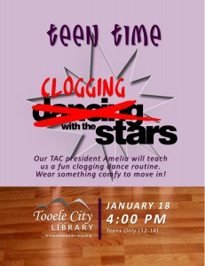 Teen Time: Clogging with the Stars @ Tooele City Library | Tooele | Utah | United States