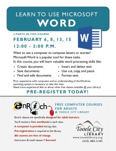 Introduction to Microsoft Word. Part 2 @ Tooele City Library | Tooele | Utah | United States