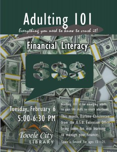 Adulting 101: Financial Literacy @ Tooele City Library | Tooele | Utah | United States