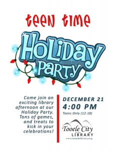 Teen Time: Holiday Party @ Tooele City Library | Tooele | Utah | United States