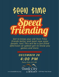 Teen Time: Speed Friending @ Tooele City Library | Tooele | Utah | United States