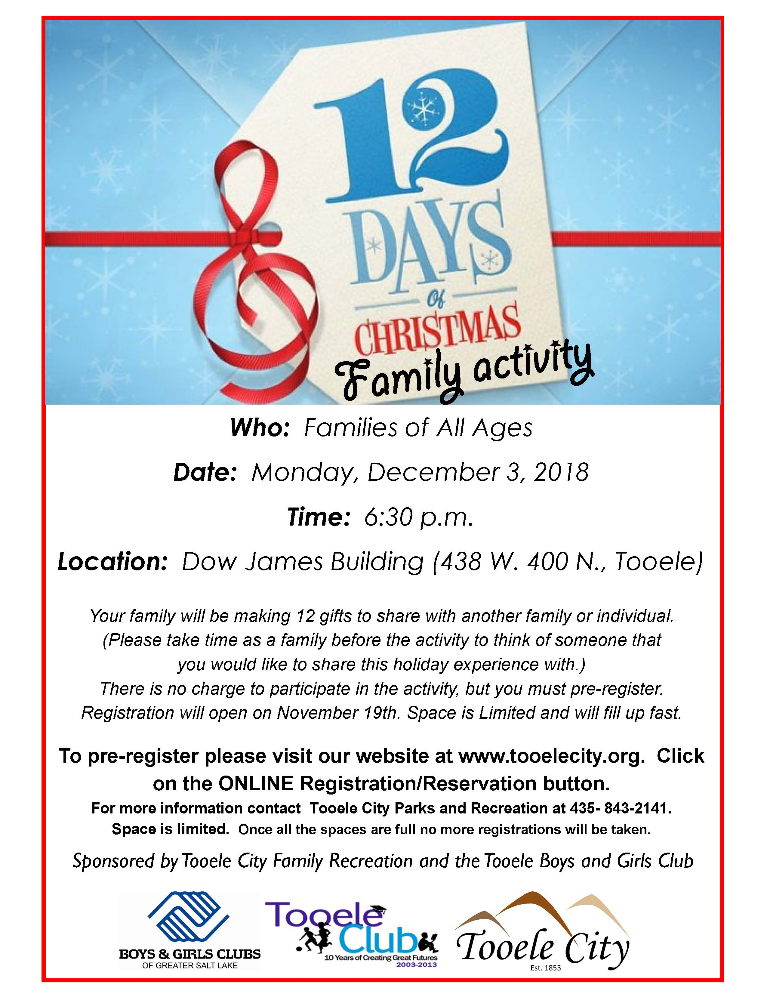 12 Days of Christmas Family Activity December 2018