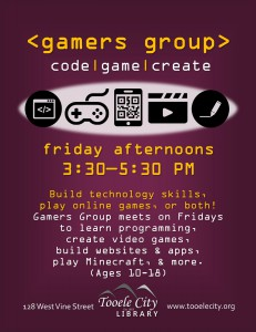 Gamer's Group. Extra Fun: Coding Challenge @ Tooele City Library | Tooele | Utah | United States