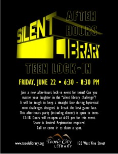 Silent Library Game: After-Hours Teen Lock-In @ Tooele City Library | Tooele | Utah | United States