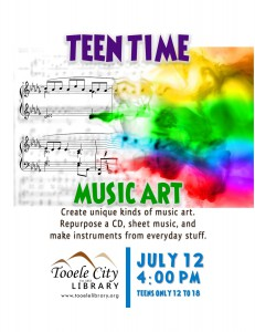 Teen Time: Music Art @ Tooele City Library | Tooele | Utah | United States