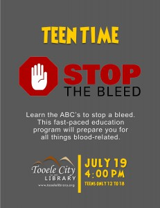 Teen Time: Stop the Bleed @ Tooele City Library | Tooele | Utah | United States
