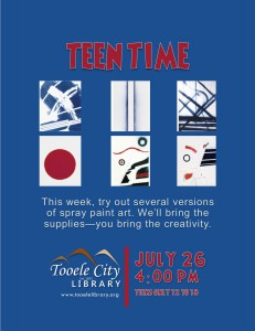 Teen Time: Spray Paint Art @ Tooele City Library | Tooele | Utah | United States