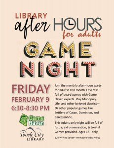 After-Hours for Adults: Game Night @ Tooele City Library | Tooele | Utah | United States
