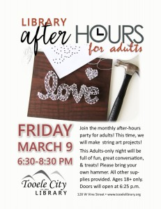 After-Hours for Adults: String Art @ Tooele City Library | Tooele | Utah | United States