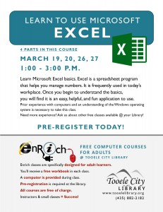 Introduction to Microsoft Excel. Part 3 @ Tooele City Library | Tooele | Utah | United States