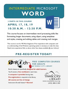 Intermediate Microsoft Word. Part 3 @ Tooele City Library | Tooele | Utah | United States