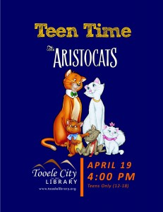 Teen Time: Disney's Aristocats Movie @ Tooele City Library | Tooele | Utah | United States