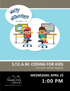 Wacky Wednesday: Coding for Kids @ Tooele City Library | Tooele | Utah | United States