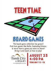 Teen Time: Board Games @ Tooele City Library | Tooele | Utah | United States
