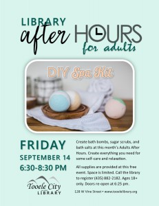 DIY Spa Kits. After-Hours for Adults. @ Tooele City Library | Tooele | Utah | United States