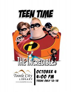 Teen Time: Incredibles Movie (2004) @ Tooele City Library | Tooele | Utah | United States