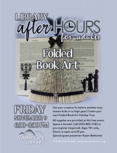 Folded Book Art (After-Hours for Adults) @ Tooele City Library | Tooele | Utah | United States