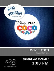 Wacky Wednesday: Coco Movie @ Tooele City Library | Tooele | Utah | United States