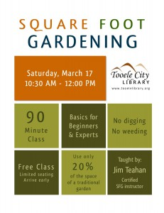 Free Square Foot Gardening Class @ Tooele City Library | Tooele | Utah | United States